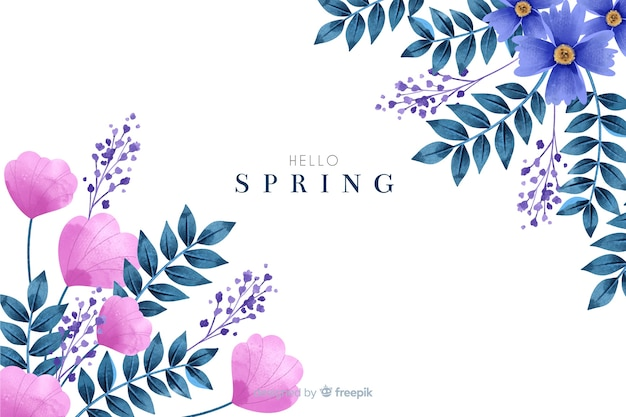 Cute spring background with watercolor flowers
