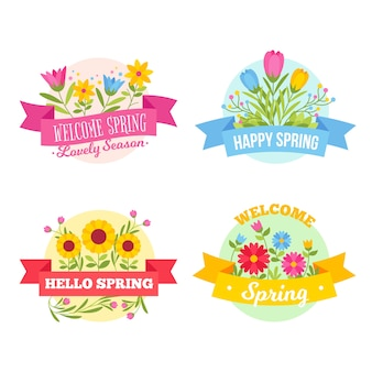 Cute spring badges with flowers and ribbons