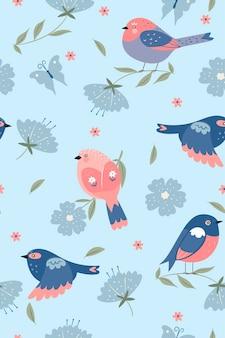 かわいい春の鳥のシームレスなパターン。