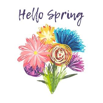 幼稚な手描きの花のかわいい春の花束。明るい夏のカラフルな大ざっぱな花のコレクション