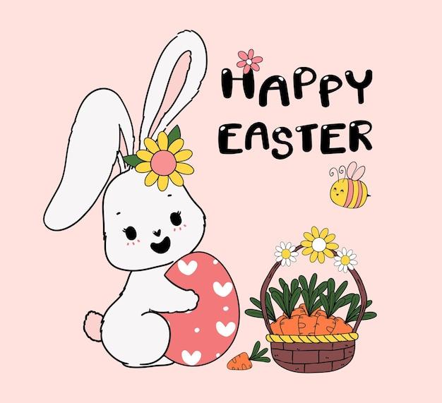 Милый весенний кролик обнимает пасхальное яйцо с корзиной моркови и пчелой. счастливой весенней пасхи, милый мультфильм каракули рисунок иллюстрации