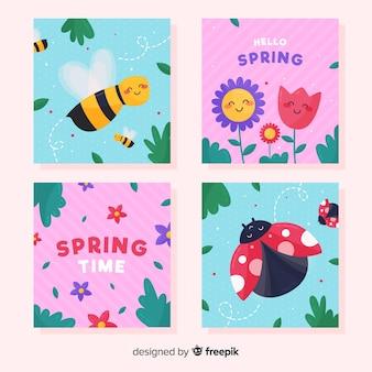 귀여운 봄 카드 팩