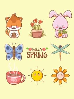 Милый весенний элемент мультипликационный персонаж и иллюстрация карты. концепция «привет весна».