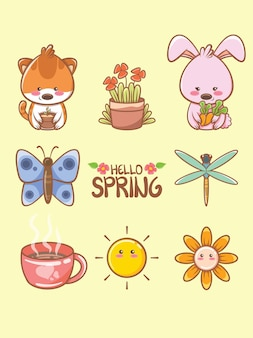 Cute spring element cartoon character and illustration card.