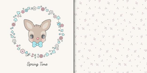 귀여운 사슴과 원활한 패턴 귀여운 봄 프레임 템플릿 카드