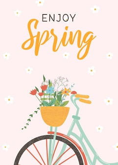 Cute spring greeting card with bike and basket of flowers