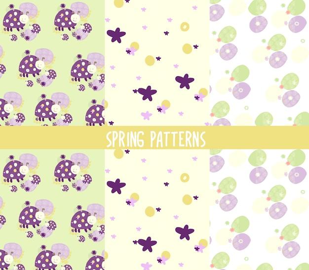 かわいい春のパステル手描きのパターン