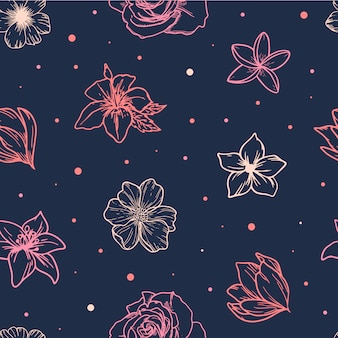 Cute spring seamless pattern from sketched flowers