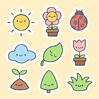 Cute spring sticker hand drawn cartoon collection
