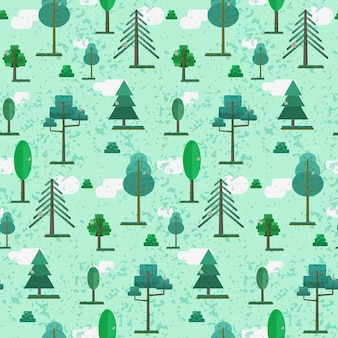 Cute spring or summer flat textured forest pattern