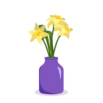 Cute spring and summer flowers daffodils in a vase bouquet as a gift interior decoration plant shop ...