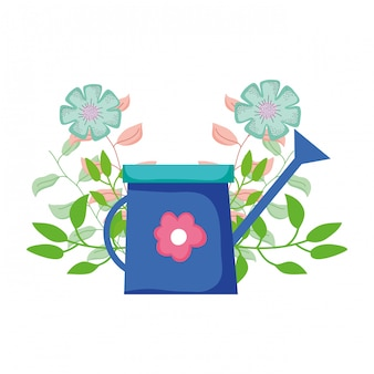 Cute sprinkler of garden with floral decoration