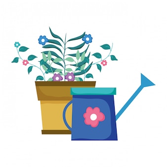 Cute sprinkler of garden with houseplant