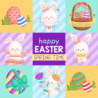 Cute square easter bunny card