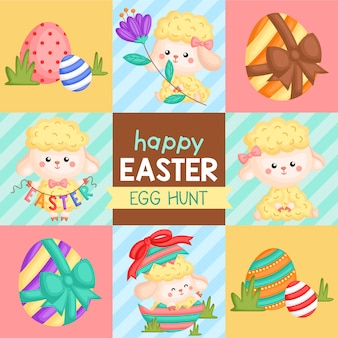Cute square easter sheep card