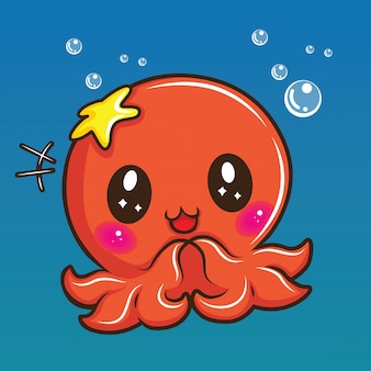 Cute squid cartoon, animal cartoon concept.