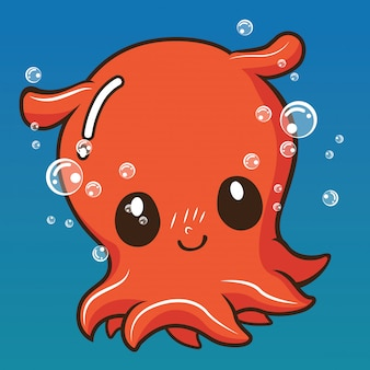 Cute squid cartoon., animal cartoon concept.