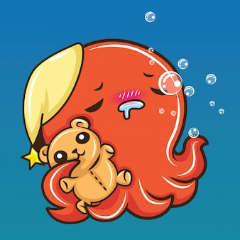 Cute squid cartoon, animal cartoon.