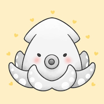 Cute squid cartoon hand drawn style