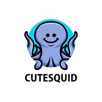 Cute squid cartoon logo