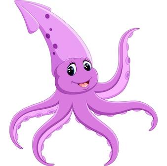 Cute squid cartoon