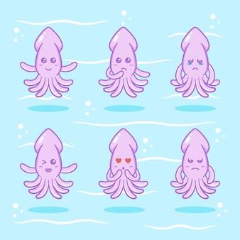 Набор симпатичных кальмаров