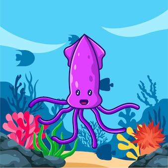 Милый кальмар в океане иллюстрации шаржа