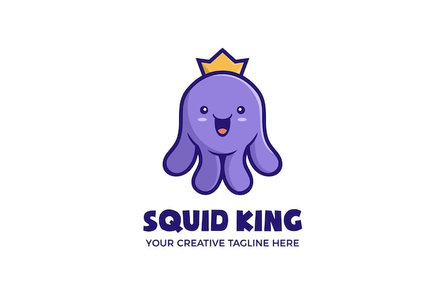 Симпатичный шаблон логотипа талисмана короля кальмаров