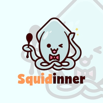 Cute squid logo hold a spoon and smiling cartoon logo