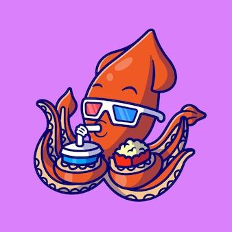 팝콘과 음료 만화 벡터 아이콘 일러스트와 함께 영화를보고 귀여운 오징어. 동물 식품 음료 아이콘 개념 절연 프리미엄 벡터입니다. 플랫 만화 스타일
