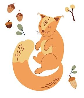 귀여운 다람쥐. 도토리, 나뭇가지, 열매. 숲 동물입니다. 스칸디나비아 삼림 동물. 어린이 패션, 섬유 인쇄, 포스터, 카드에 대한 개념. 벡터 일러스트 레이 션