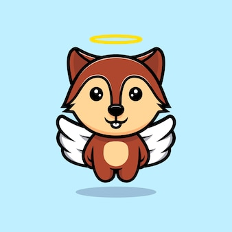 Cute squirrel angel with wings mascot character