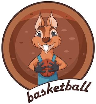 Cute squirrel. animal playing basketball.