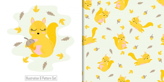 Cute squirrel animal seamless pattern with hand drawn illustration card set