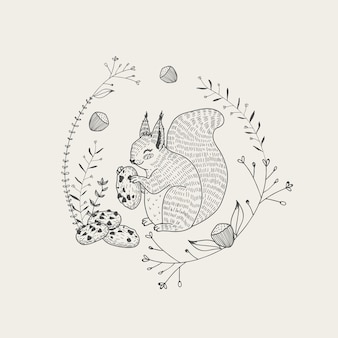 Cute squirrel animal with cookies cartoon hand drawn