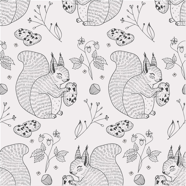 Cute squirrel animal with cookies seamless pattern hand drawn