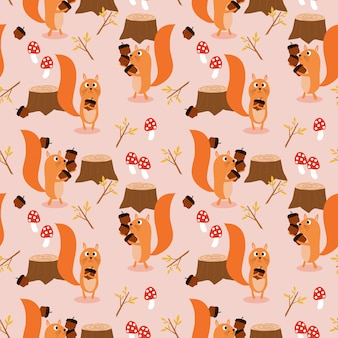 Cute squirrel and autumn leaves seamless pattern.