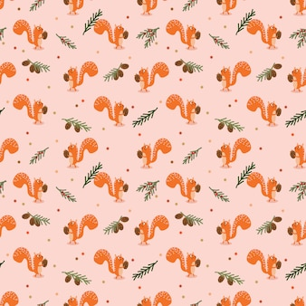 Cute squirrel and autumn seamless pattern.