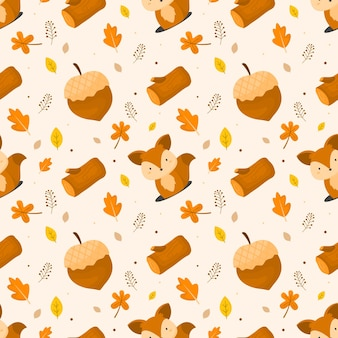 Cute squirrel autumn seamless pattern