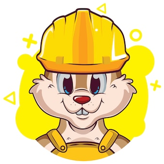 Cute squirrel avatar with helmet