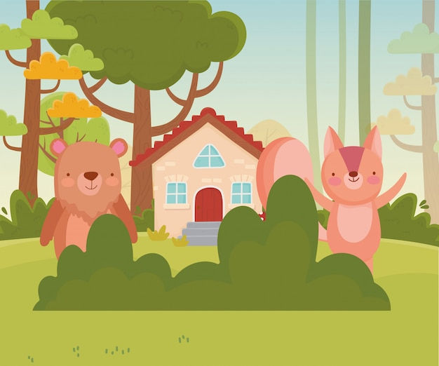 Cute squirrel and bear house trees bush foliage nature  vector illustration