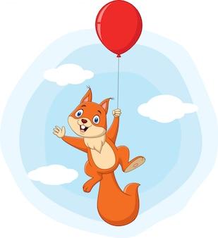 Милый мультфильм белка летит с воздушным шаром