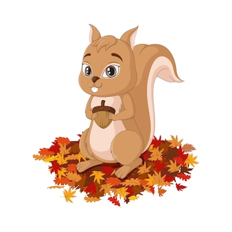 Мультфильм милый белка на осенних листьях