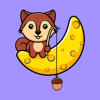 Cute squirrel catch nut from moon mascot character