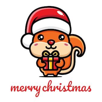 크리스마스를 축하하는 귀여운 다람쥐