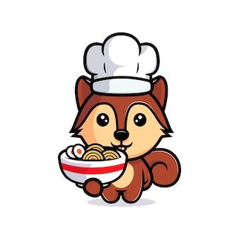 라면 마스코트 캐릭터와 함께 귀여운 다람쥐 요리사