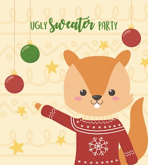 Cute squirrel christmas ugly sweater party