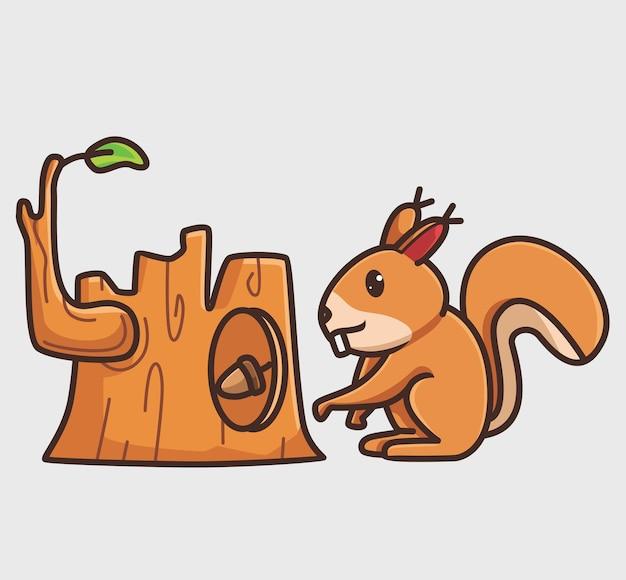 귀여운 다람쥐는 나무 구멍에 너트를 수집합니다. 만화 동물 자연 개념 격리 된 그림입니다. 스티커 아이콘 디자인 프리미엄 로고 벡터에 적합한 플랫 스타일. 마스코트 캐릭터
