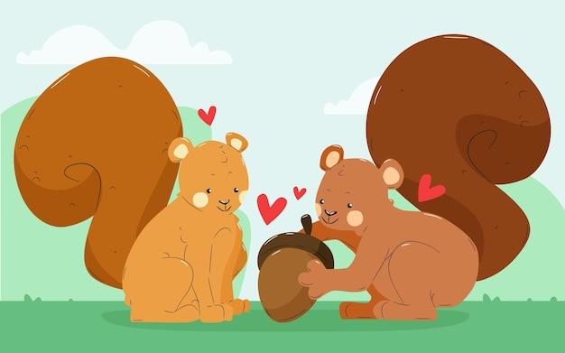 Cute squirrel couple illustrated