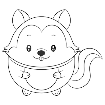 Cute squirrel drawing sketch for coloring